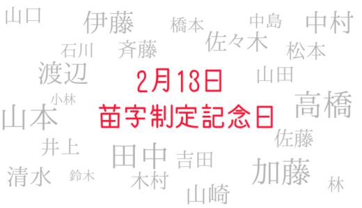 2月13日は苗字制定記念日