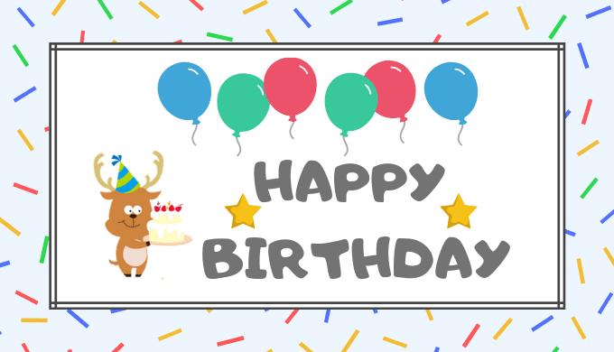誕生日ケーキを持った鹿のキャラクター