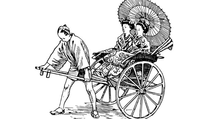 人力車を押している男性のイラスト