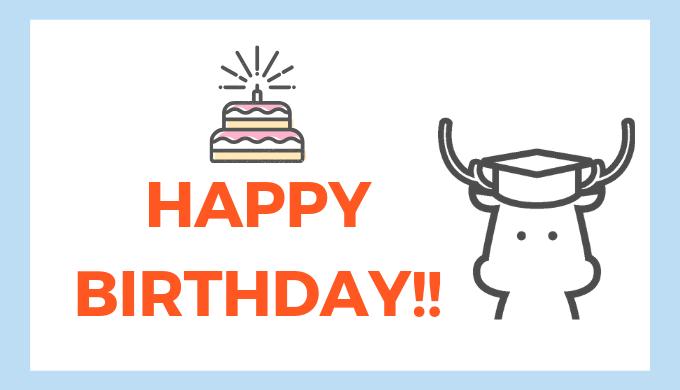 誕生日を祝う鹿のマスコットキャラ