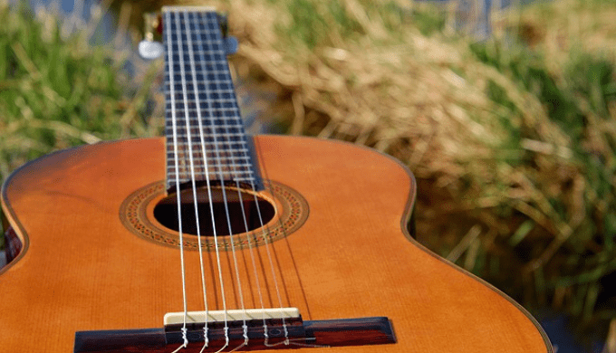 フォークギターと草原