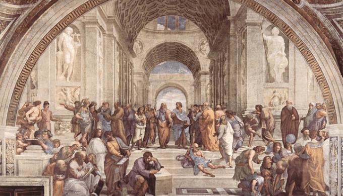 ラファエロ・サンティの絵画「アテナイの学堂」