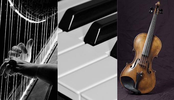 竪琴とピアノとバイオリン
